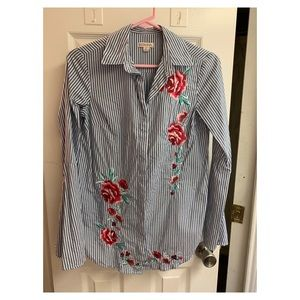 Striped/embroidered button down shirt. Size XS.